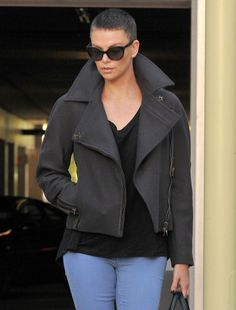 bold move, maybe if I had her gorgeous face and body -- Charlize Theron's ultra short hair