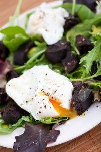 Black Pudding with Rocket (Arugula) & Poached Eggs - Spencer's Jolly Posh Foods #irish #british