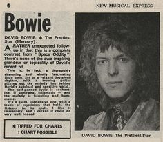 Real article on David Bowie, from NME (New Musical Express) in 1972.