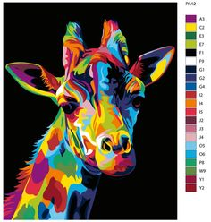A Abstract Giraffe pop-art design inspired by this wonderful animal i seen in Africa. everyone loves the safari and a giraffe so what better way to show it than display this super bright version on your wall or on a t-shirt Abstract Animal Art, Colorful Animal Paintings, Colorful Animals, Giraffe Painting, Giraffe Art, Love Painting, Design Pop Art, Giraffe Pictures, 3d Pictures