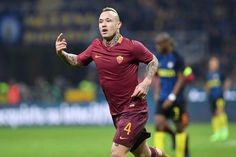 c1c54ecbd AS Roma player Radja Nainggolan celebrates during the Serie A match between  FC Internazionale and AS Roma at Stadio Giuseppe Meazza on February 2017 in  ...