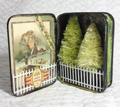 Handmade colorful bottle brush trees at Goat Hill Fair (just something I did) - Christmas: Crafts - noel Noel Christmas, Christmas Projects, Holiday Crafts, Vintage Christmas, Christmas Ornaments, Green Christmas, Altered Tins, Altered Art, Mint Tins