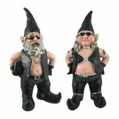 Gnoschitt and Gnofun Pair of Biker Garden Gnomes Statue Motorcycle Leather 9 Inch Figures by Toad Hollow. $39.99. Cold Cast Resin. 8 to 9 Inches Tall. Hand Painted. Gnoschitt the biker garden gnome was Born to Ride! He and his wife, Gnofun, just can`t deal with the normal gnome life of gardening, fishing and chopping wood, so now they`re hell-bent for leather! Gnoschitt wears a leather vest, leather chaps and jeans, curved-toed boots and holds a saddlebag in one arm. Gnoschitt ...