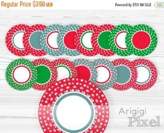 On Sale 50 % OFF Christmas circle frame clipart , digital round frames, stars, red green blue clip art, for labels and round tags, commercia