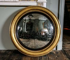 An Extremely Large Regency Giltwood Convex Wall Mirror | From a unique collection of antique and modern convex mirrors at https://www.1stdibs.com/furniture/mirrors/convex-mirrors/