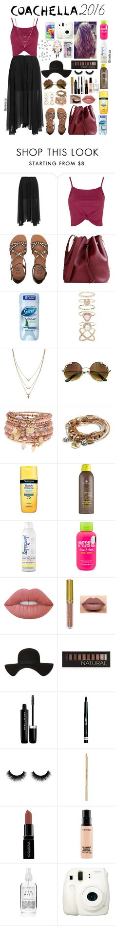 """""""Coachella Inspired Outfit!"""" by mely-carrasco ❤ liked on Polyvore featuring Étoile Isabel Marant, Topshop, Billabong, Sophie Hulme, Accessorize, Jessica Simpson, Lizzy James, Neutrogena, MDSolarSciences and Supergoop!"""