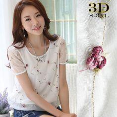 3D Bordado Chiffon Blusas Camisas Das Mulheres Verão 2016 Estilo Coreano  Moda Elegante Flor Floral Crochê Plus Size Partes Superiores Das Senhoras  em Blusas ... da48c8c6410