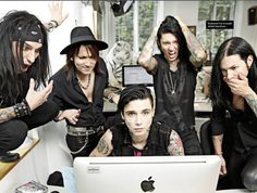 Black Veil Brides<<< It looks like they're reading fanfiction or something lol