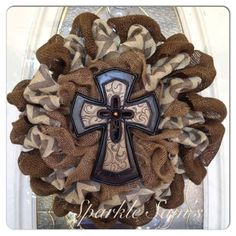 Burlap cross wreath- this is really cute!