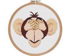 Three wise monkeys Hear no evil Monkey cross by StitcheryStitch