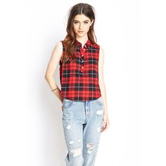 Shop a variety of styles in women's tops at Forever Find knit and woven blouses, cami's, tees, sweaters, short and long sleeve tops for women! Plaid Shirt Outfits, Sleeveless Outfit, Nyfw Street Style, Girl Outfits, Fashion Outfits, High Waisted Pencil Skirt, Collar Top, Shirt Blouses, Shirts