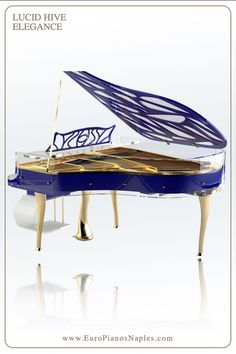Luxurious and elegant Bluthner Lucid Hive Elegance Transparent piano can be customized in any color and size. Order your Lucid Hive Piano from Euro Pianos Naples. Painted Pianos, Piano For Sale, Piano Room, Futuristic Design, Piano Music, Custom Paint, Outdoor Furniture, Outdoor Decor, Music