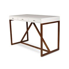 Kate and Laurel Kaya Wood Writing Desk with 3 Drawers, White Top, and Walnut Brown Base