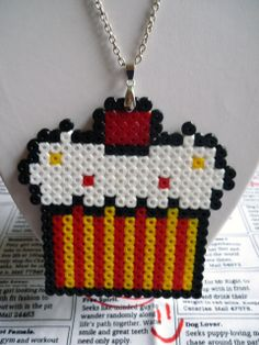 Hama Bead Red Cupcake Necklace by LorelaiDinda on Etsy, £3.00