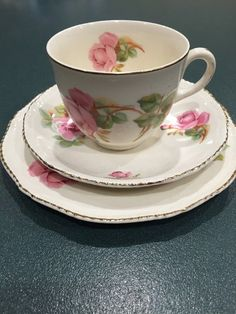 Woods Ivory Wear Trio Roses Cup Coffee Teacup Saucer Side plate Vintage   | eBay