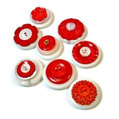 Vintage Button Magnets Retro Red and White Decor by BluKatDesign, $15.00