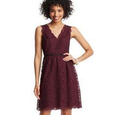 LOFT Lace Dress Burgundy scalloped sleeveless lace dress with black band!  Happy Poshing! (x trade) LOFT Dresses