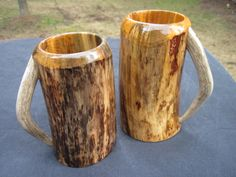 Wooden beer mugs or wooden steins. As close to matching set as possible when working with real wood  real antlers, no resin here!!!  Bride  groom? His  hers? Man cave collection??? Endless possibilities!!!