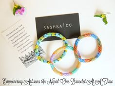 Sashka Co. helps empower artisans in need to rise above poverty in the Kathmandu Valley of Nepal through fair trade. All bracelets are handmade with high quality glass beads strung one by one to perfection.