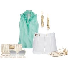 mint top with white shorts and metallic accessories