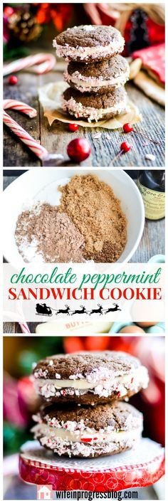 The perfect Christmas cookie! This chocolate peppermint sandwich cookie is filled with peppermint flavored cream cheese frosting and rolled in crushed candy canes. It tastes as festive as it looks. A new holiday favorite!
