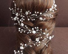 Long vine bridal hair Bridal hair vine Pearl bridal headpiece
