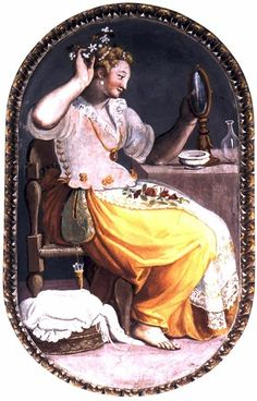Alessandro Allori ca1580 Woman at her toilette. Pocket, apron with lace, laces attaching bodice to skirt?