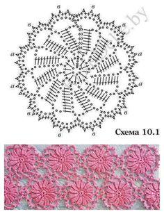 Crochet Doily Diagram, Crochet Motif Patterns, Crochet Lace Edging, Crochet Chart, Crochet Squares, Irish Crochet, Crochet Designs, Crochet Doilies, Crochet Flowers