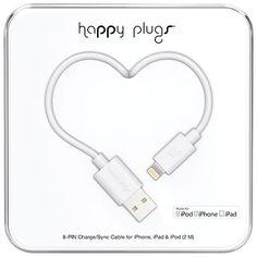 Happy Plugs 2m (6.5 ft.) Lightning/USB Cable - White
