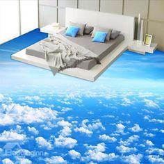Blue Sky and White Cloud Pattern Nonslip and Waterproof Floor Murals Blauer Himmel und weiße Wolken Muster rutschfeste und …