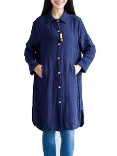 Side Split Vintage Long Sleeve Loose Women Long Basic Blouse - Gchoic.com