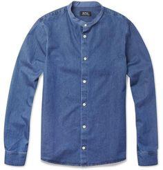A.P.C. Grandad-Collar Denim Shirt
