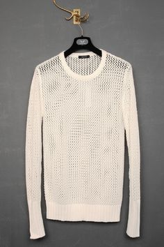 UNCONDITIONAL / UNCONDITIONAL WHITE MESH KNITTED CREW NECK JUMPER.