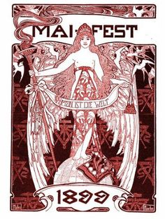 May Day poster by Ephraim Moses Lilien, 1899. Jugenstil