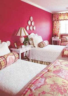 Fuchsia Wall and Toile Bedroom