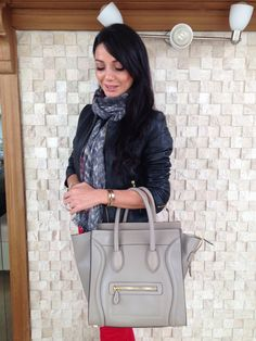 Celine bag, outfit in red, red and grey outfit