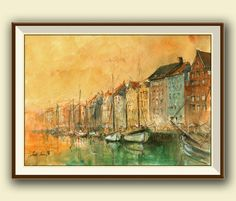Copenhagen Denmark - Nyhavn harbour with old sail ships. City original art wall -seascape architecture decor.  Frame and mat not included,