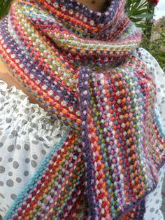 """Scrappy scarf"" done - Les bricoles du grenier Pull Crochet, Knit Crochet, Loom Knitting, Knitting Patterns, Bonnet Crochet, Snood Scarf, Sewing Clothes, Crochet Projects, Knitwear"