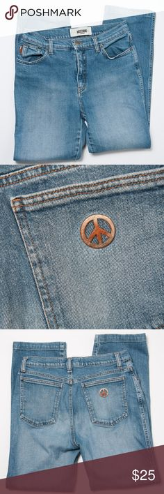 Moschino Jeans Donna  31 Moschino Jeans - style Donna size 31. Preloved condition. Worn hem, peace sign on back pocket has some discoloration. Moschino Jeans
