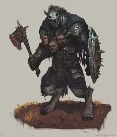 e621 armor axe berserker blood dark_fantasy demon gnoll gore hyena male mammal melee_weapon mortal_wound shield warrior weapon wounded