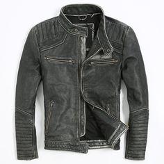 >> Click to Buy << Men's Punk style Embroidery skulls leather motorcycle jacket Vintage black slim fitted genuine leather jacket men biker jacket #Affiliate