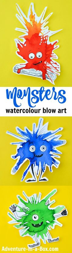 Friendly Monster Watercolour Blow Art with Straws If you like making process art and trying new painting techniques with kids, keep this watercolour monster craft in mind for the next rainy afternoon. They are guaranteed to brighten your day! Kindergarten Art, Preschool Crafts, Fun Crafts, Crafts For Kids, Arts And Crafts, Craft Kids, Projects For Kids, Art Projects, Arte Elemental
