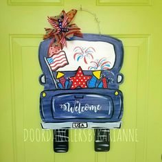 Truck Door Hanger -- Truck Decor, Farmhouse Truck, Rustic Truck, Customize for any Season or Holiday Painted Doors, Wooden Doors, Wooden Signs, July Crafts, Summer Crafts, Glass Storm Doors, Burlap Door Hangers, Custom Ribbon, Wood Cutouts