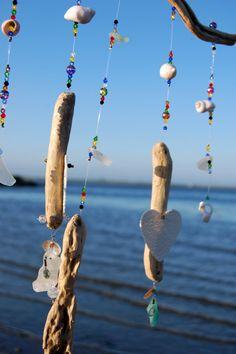 Driftwood  Porcelain Heart  Shell  Sea Glass  by ZephyrChimes