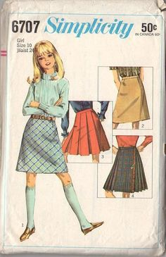 Vintage 1960s Simplicity Sewing Pattern 6707 Girls A-Line or Pleated Skirt Size 10