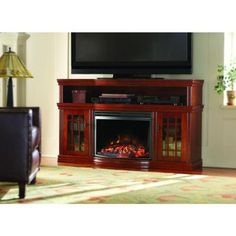 Home Decorators Collection Silverthorne 57 in. Media Console Electric Fireplace in Cherry-MTVSC2513SCH at The Home Depot