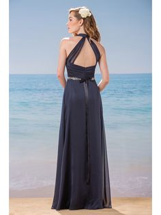 Gorgeous back for a bridesmaids gallery | see more @BridalPulse Bridesmaids Gallery | Belsoie Bridesmaids Collection | Floor Blue A-Line Halter $$ ($101-250)