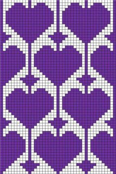 filet crochet or tapestry ♥ⓛⓞⓥⓔ♥ with heart motif Could use for stranded colorwork knitting Tapestry Crochet Patterns, Crochet Motifs, C2c Crochet, Bead Loom Patterns, Crochet Diagram, Stitch Patterns, Crochet Socks, Filet Crochet Charts, Heart Patterns