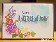 A birthday card for my mother in law with Papertrey Ink stamps.