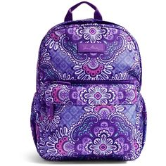 Vera Bradley Lighten Up Just Right Backpack in Lilac Tapestry ($88) ❤ liked on Polyvore featuring bags, backpacks, lilac tapestry, tapestry bag, lightweight rucksack, vera bradley, lightweight daypack and tapestry backpack